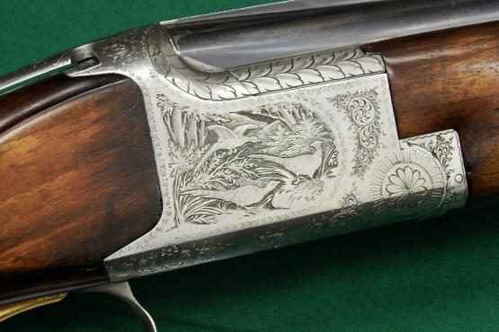 Gebrauchte Bockdoppelflinte Browning B25 Kaliber 12/70 graviert