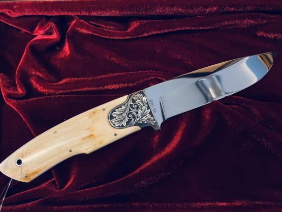 DNC Messer Kodiak, Mammutelfenbein Scrimshaw Klinge: RWL 34